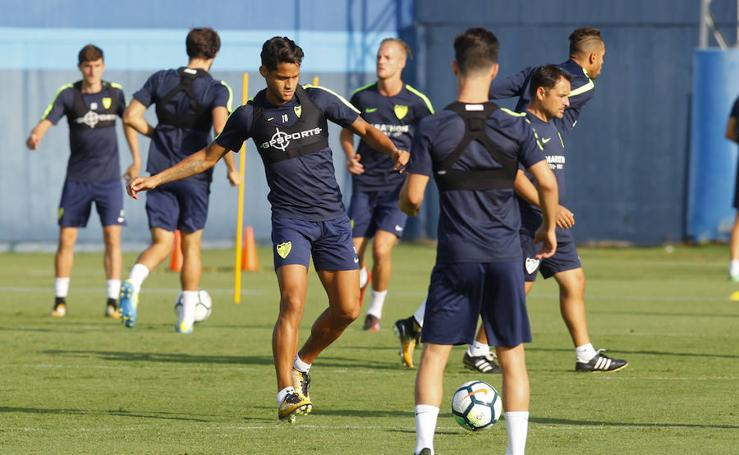 El entrenamiento de los blanquiazules previo al Sevilla-Málaga