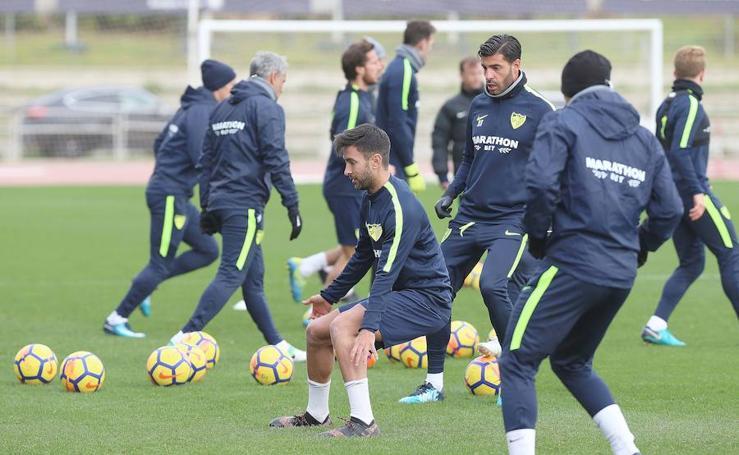 Entrenamiento del Málaga, tras la derrota contra el Espanyol