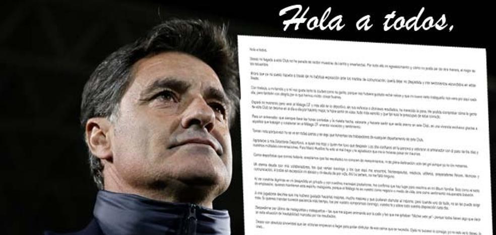 Míchel se despide por carta del Málaga y de la afición: «Adiós a los malaguistas, a los que me animan y a los que me gritaban 'vete ya'»