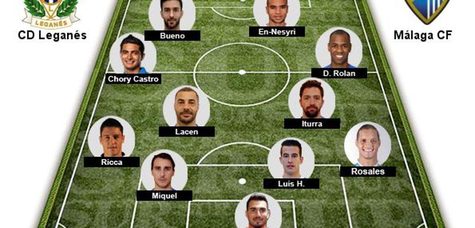 Ricca y Bueno, novedades en el once del Málaga ante el Leganés