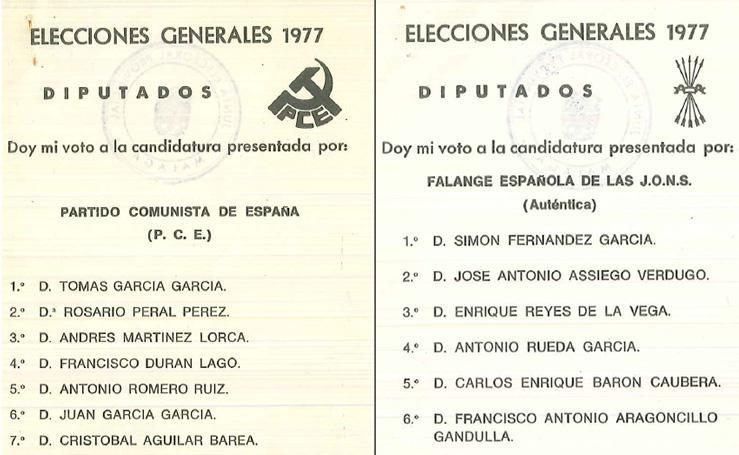Papeletas electorales de los partidos del 15-J en Málaga