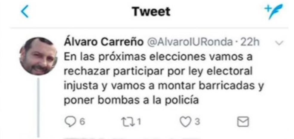 Polémica en Ronda por el tuit de un edil en el que dice que va a «poner bombas a la policía»