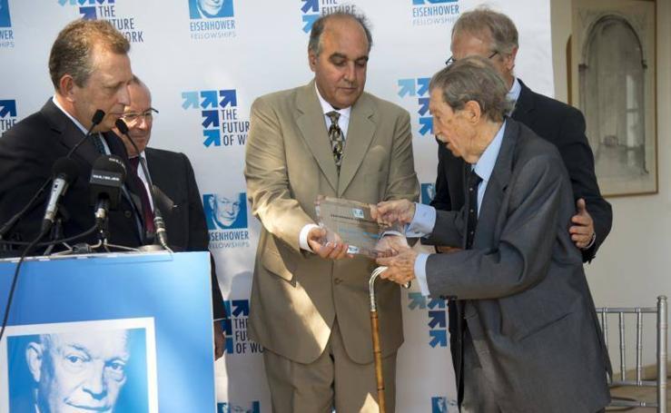 El premio First Admenment de la Fundación Eisenhower a Manuel Alcántara, en fotos
