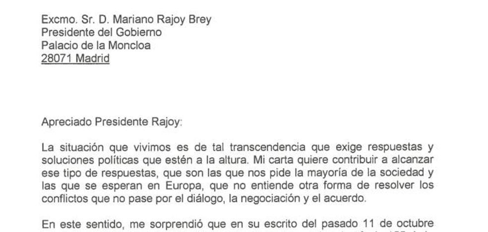 Texto íntegro de la carta de Puigdemont a Rajoy