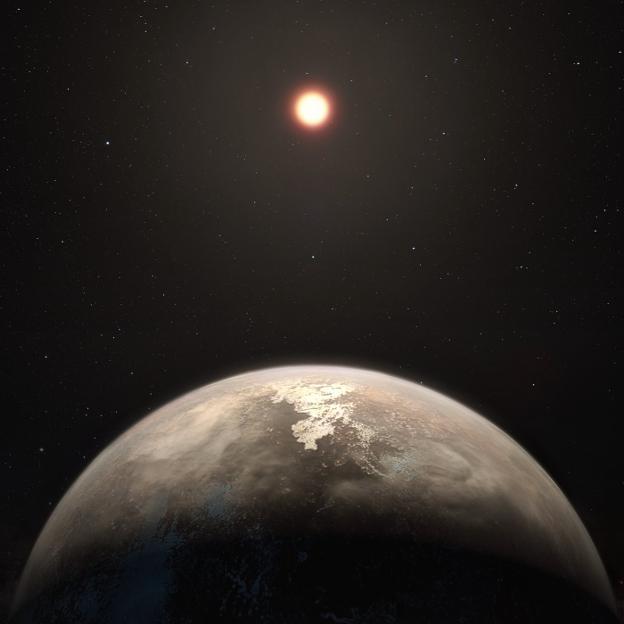Recreación de Ross 128b con su estrella enana roja al fondo. :: ESO / M. Kornmesser/
