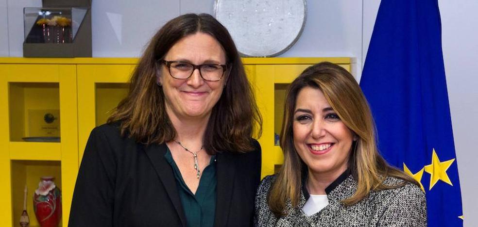Díaz exhibe en Bruselas el mejor dato de exportaciones andaluzas en años