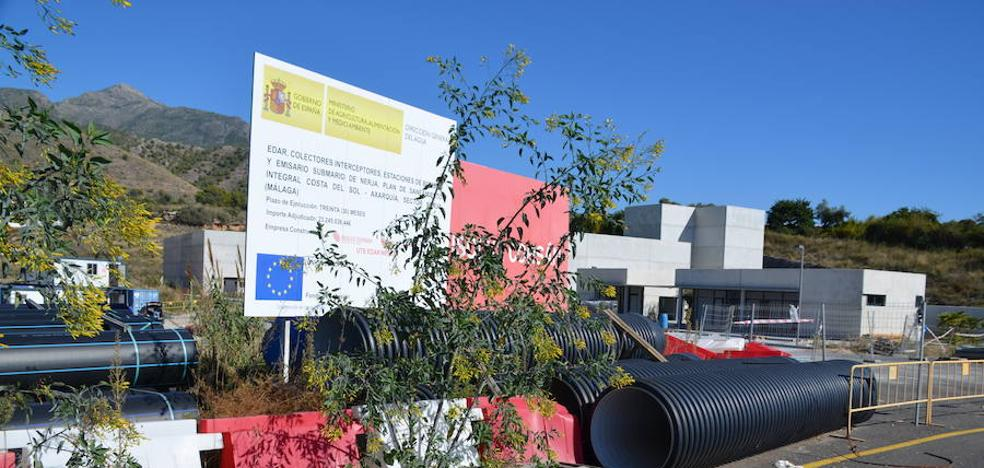Las obras de la depuradora de Nerja siguen paradas después de ocho meses