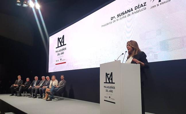 Susana Díaz, presidenta de la Junta de Andalucía: «Tenemos que seguir celebrando que hay prensa libre y crítica y que Diario SUR sea el notario de la historia de Málaga»