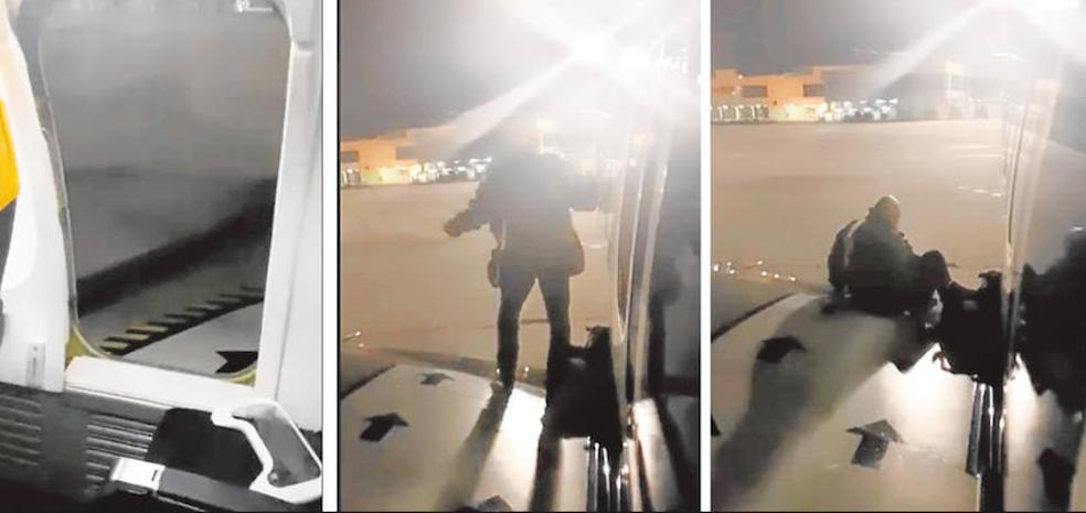 El pasajero que trató de bajar del avión por un ala declara que salió «agobiado por los retrasos»