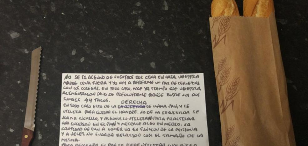 La nota de un padre a sus hijos veinteañeros con instrucciones para hacerse un bocadillo que arrasa en Twitter