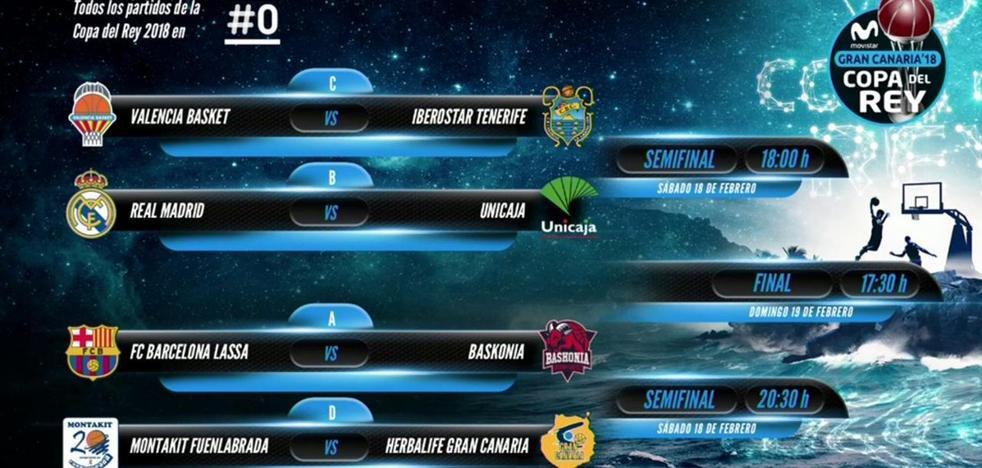 Barça-Baskonia y Madrid-Unicaja, duelos estelares en la Copa del Rey