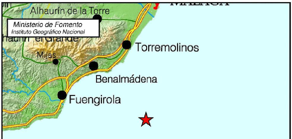 Detectado un terremoto de magnitud 3.4 frente a las costas de Málaga