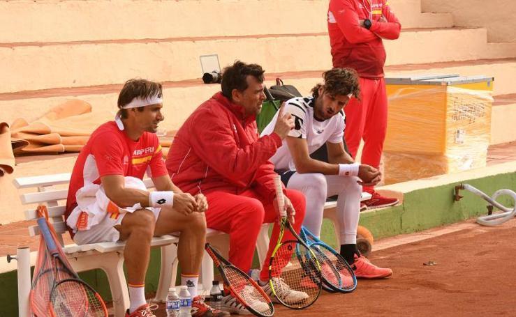 El equipo español de tenis de la Davis se entrena en Marbella