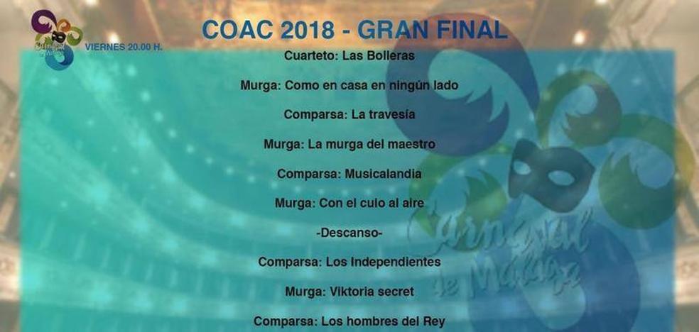 Así narramos en directo la final del concurso de canto del Carnaval de Málaga 2018