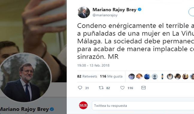 Mariano Rajoy: «Condeno enérgicamente este terrible asesinato»
