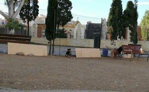 Parque canino San Miguel: tablones a falta de un muro
