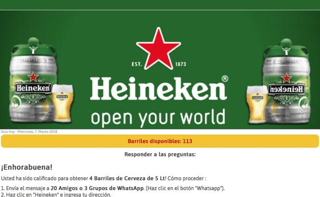 El timo de los barriles gratuitos de cerveza Heineken