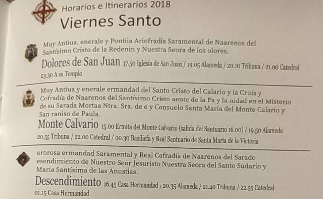 Un itinerario cofrade lleno de erratas de la Semana Santa de Málaga de 2018 se convierte en objeto de deseo