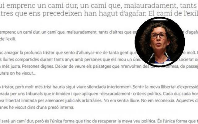 Carta íntegra de despedida de Marta Rovira: «Es la única forma de levantarme en contra del Gobierno del PP, que castiga a cualquiera que intenta cambiar lo establecido»
