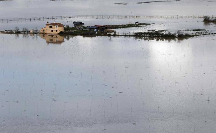 Casas aisladas por el desbordamiento del río Arga