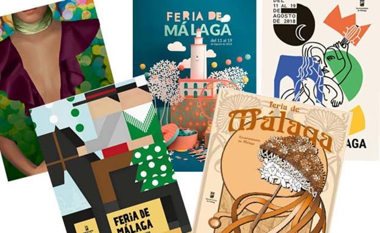Carteles candidatos a ser la imagen de la Feria de Málaga 2018