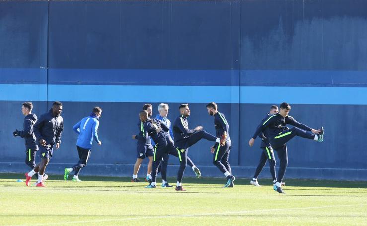 Entrenamiento del Málaga tras la dura derrota ante el Atlético
