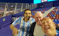 Juanfran, Loz y Phillip, los tres malaguistas en el estadio del Levante para apoyar al Málaga