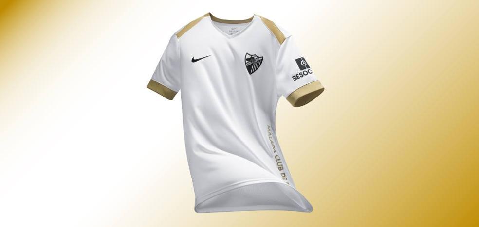 La tercera equipación del Málaga, blanca con detalles en dorado y negro