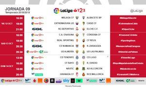 El Málaga-Albacete, el viernes 12 de octubre a las 16.00 horas