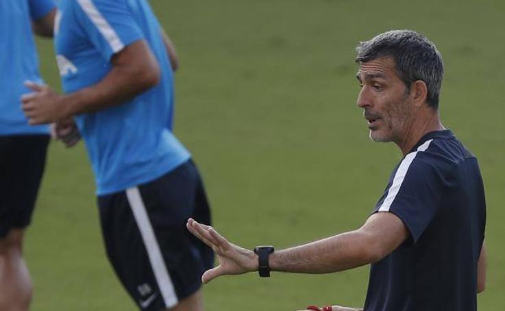 Entrenamiento del Málaga este sábado previo al partido frente al Rayo Majadahonda