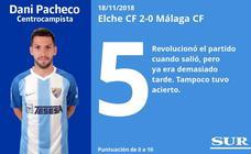 El uno a uno de los jugadores en el Elche 2-0 Málaga
