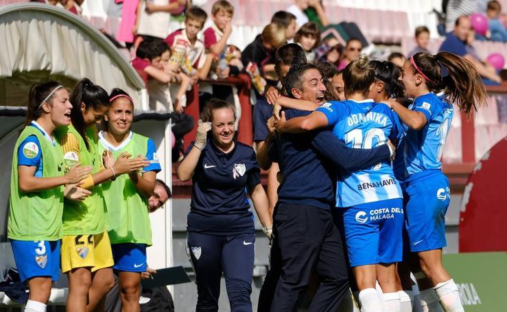 La victoria del Málaga en Logroño, en imágenes
