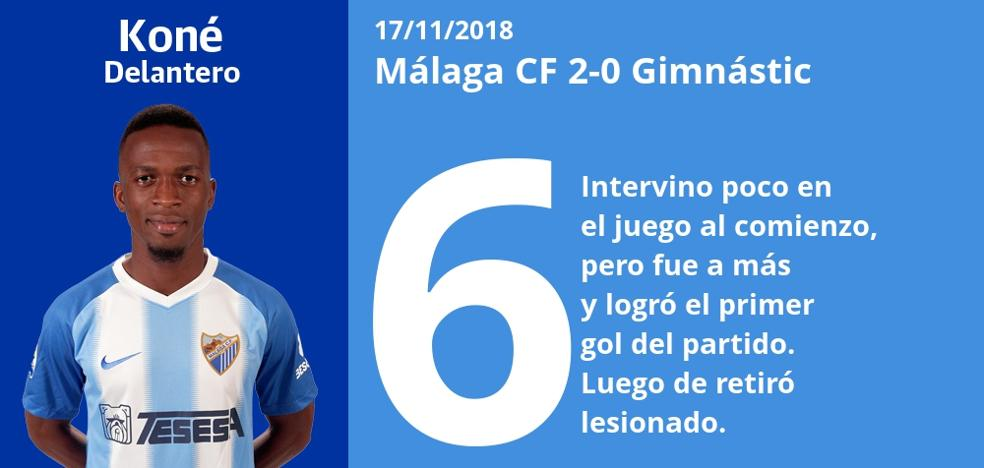 Notas a los jugadores del Málaga ante el Nástic