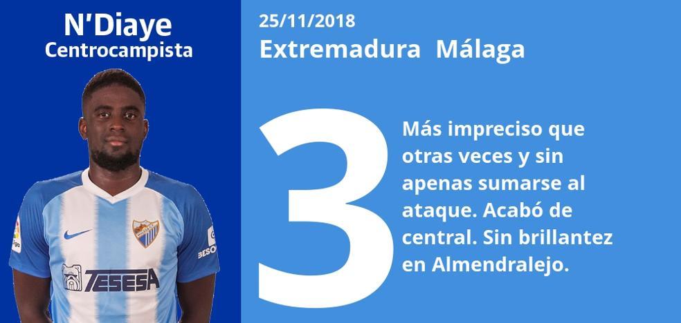 El uno a uno del partido Extremadura 1-0 Málaga