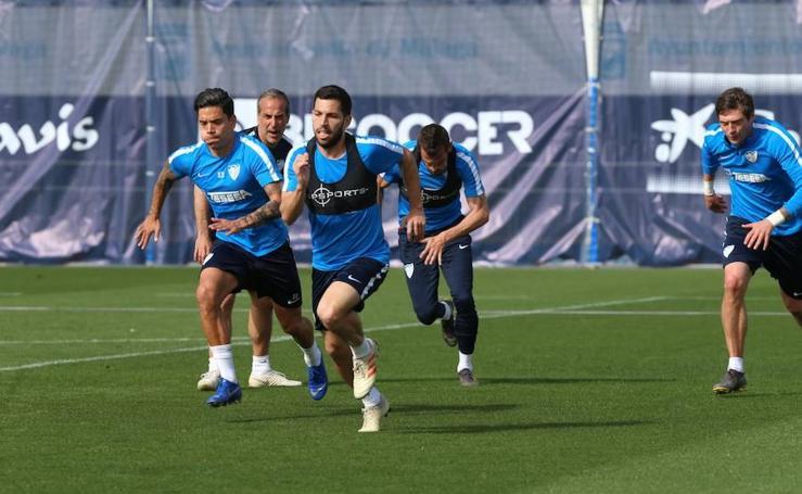 Entrenamiento del Málaga de este martes, previo al partido contra el Real Sporting