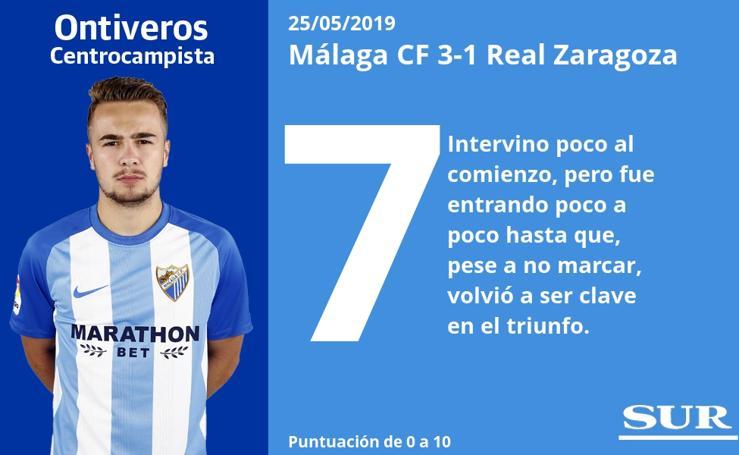 El uno a uno de los jugadores del Málaga frente al Zaragoza