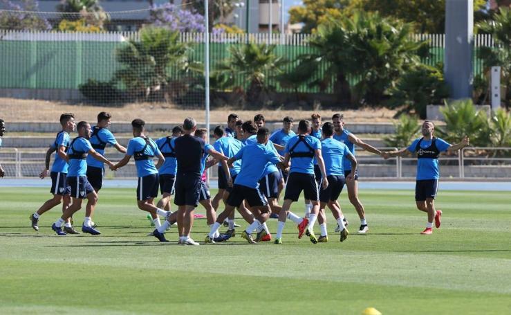 Entrenamiento del Málaga antes de vajar a Riazor