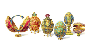 Peter Carl Faberge's eggs for today's Google Doodle