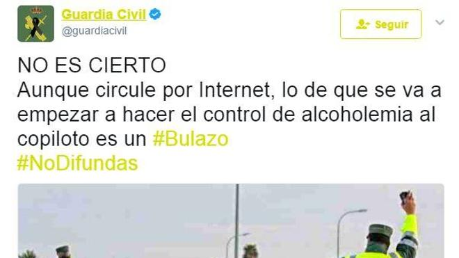 La Guardia Civil desmiente que vaya a hacer controles de alcoholemia a los copilotos