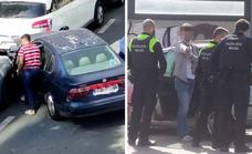 Driver arrested after stolen car smashes into seven parked vehicles and video goes viral