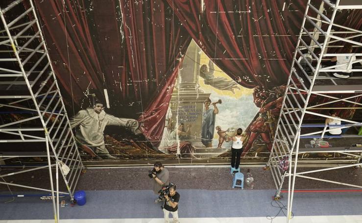 Restauración del Telón de Ferrándiz en el Ayuntamiento de Málaga