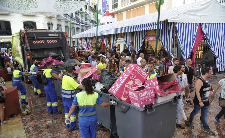 Así quedó el Centro tras la primera jornada de la Feria de Málaga 2017