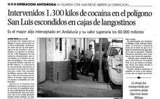 Hace 20 años | Cocaína entre langostinos, el mayor alijo incautado en Málaga