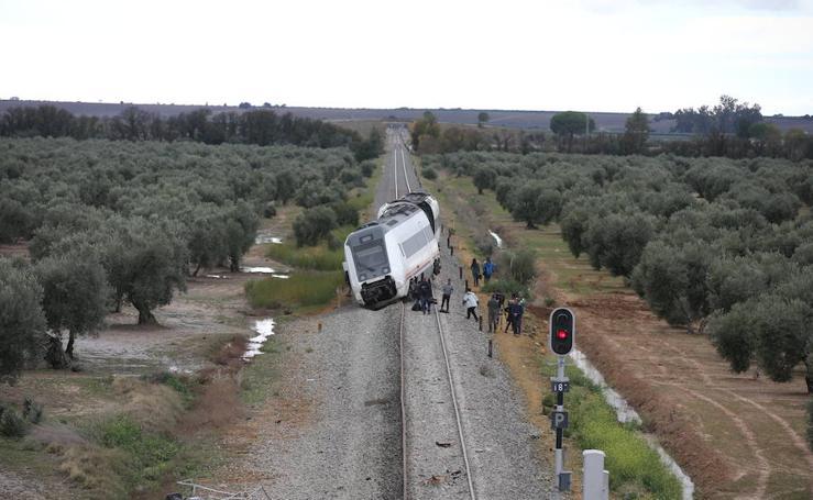 Fotos del tren Málaga-Sevilla descarrilado