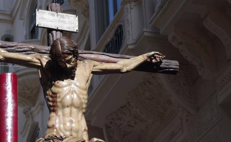 El Cristo de la Redención y la Virgen de los Dolores en el Viernes Santo de Málaga 2018