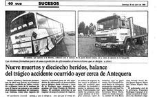 Hace 29 años | El trágico accidente de tráfico que se cobró nueve vidas en Antequera