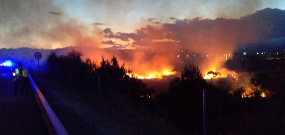 Un incendio obliga a cortar uno de los carriles de acceso a Vélez-Málaga