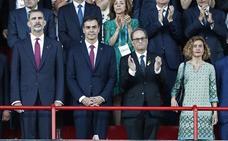 Felipe VI, Sánchez y Torra coinciden por primera vez en los Juegos Mediterráneos