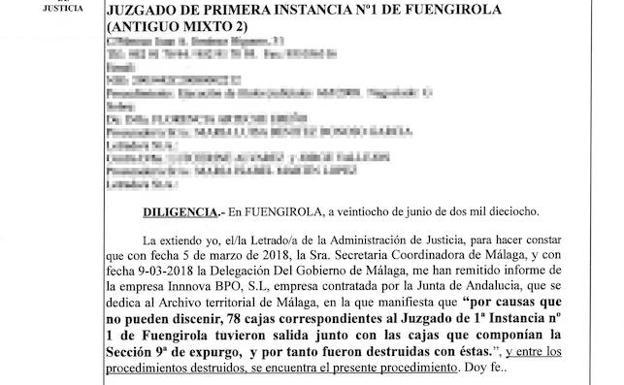 Málaga | Destruyen por error 78 cajas de expedientes