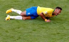 Neymar se ha pasado casi 14 minutos por los suelos en lo que va de Mundial
